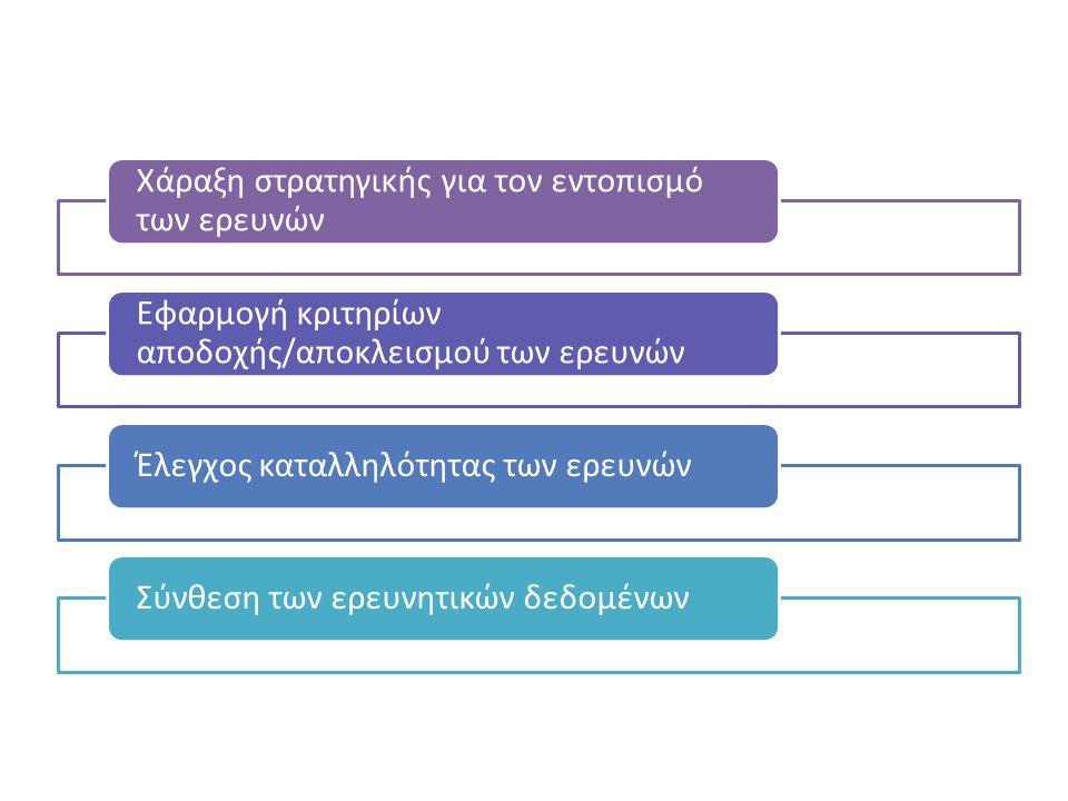 Χάραξη στρατηγικής για τον εντοπισμό των ερευνών Εφαρμογή κριτηρίων αποδοχής/αποκλεισμού των ερευνών Έλεγχος καταλληλότητας των ερευνώνΣύνθεση των ερευνητικών δεδομένων