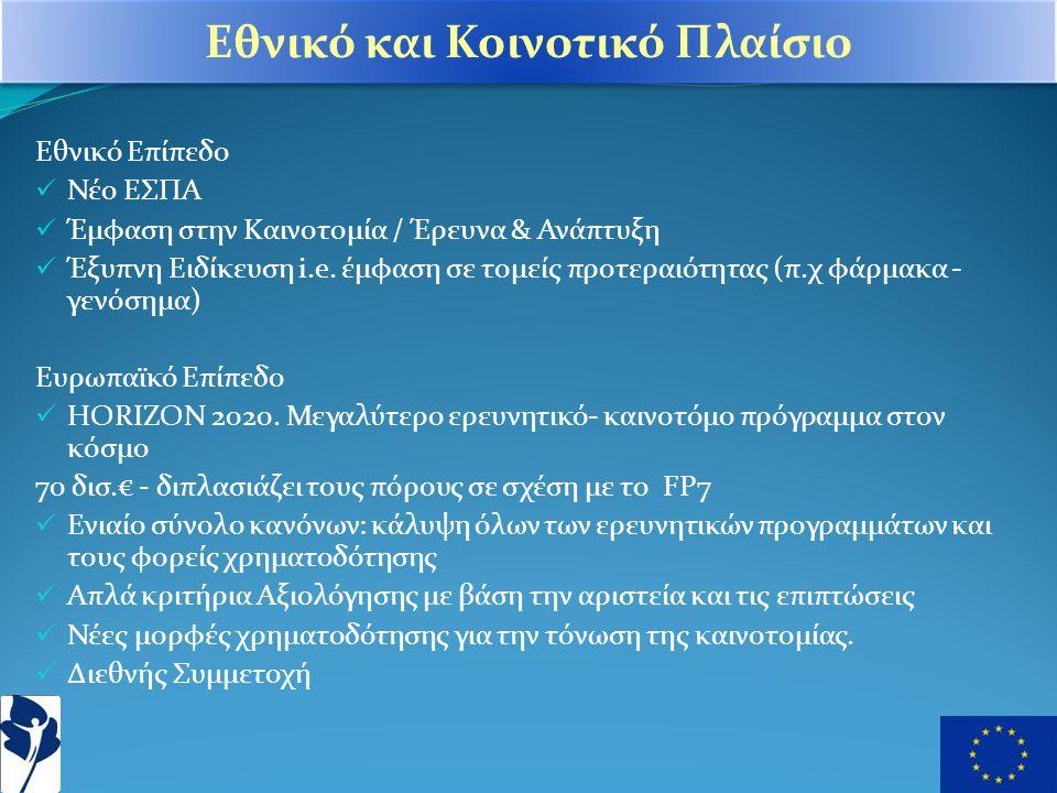 Εθνικό Επίπεδο  Νέο ΕΣΠΑ  Έμφαση στην Καινοτομία / Έρευνα & Ανάπτυξη  Έξυπνη Ειδίκευση i.e.