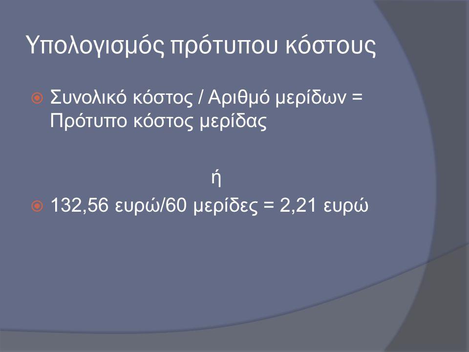 Υπολογισμός πρότυπου κόστους  Συνολικό κόστος / Αριθμό μερίδων = Πρότυπο κόστος μερίδας ή  132,56 ευρώ/60 μερίδες = 2,21 ευρώ
