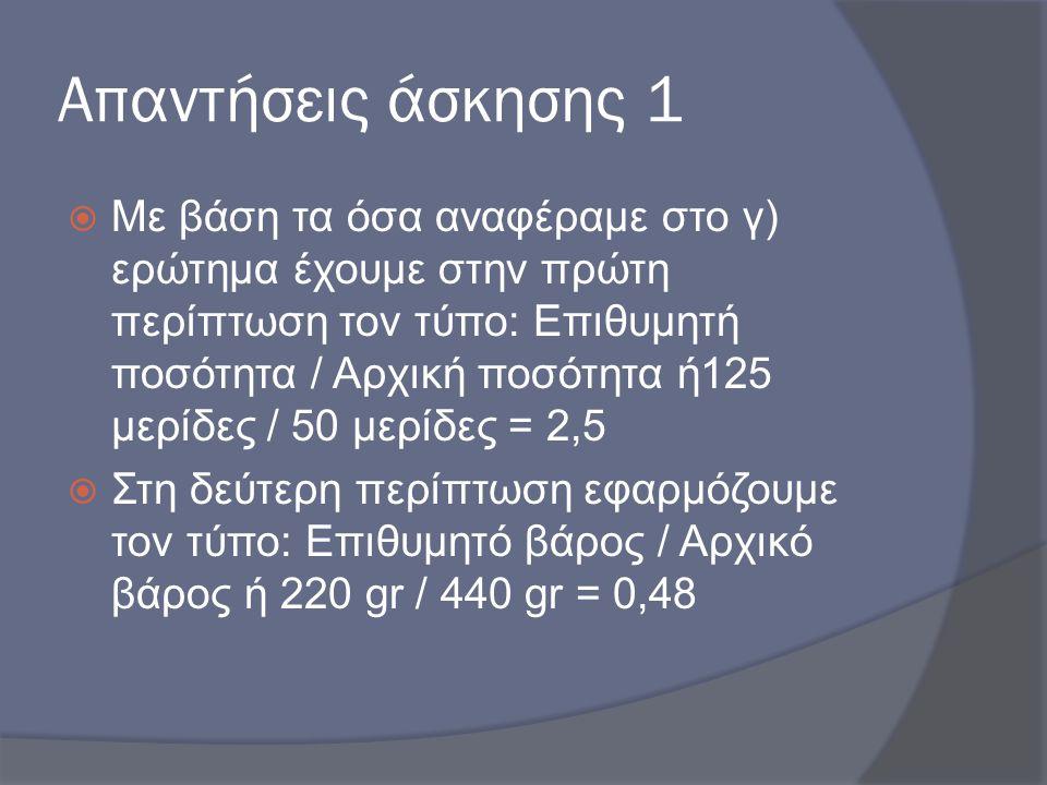 Απαντήσεις άσκησης 1  Με βάση τα όσα αναφέραμε στο γ) ερώτημα έχουμε στην πρώτη περίπτωση τον τύπο: Επιθυμητή ποσότητα / Αρχική ποσότητα ή125 μερίδες