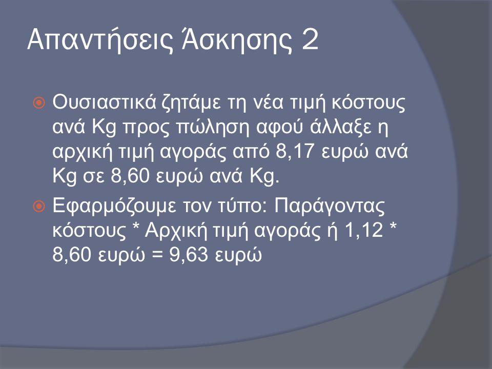 Απαντήσεις Άσκησης 2  Ουσιαστικά ζητάμε τη νέα τιμή κόστους ανά Kg προς πώληση αφού άλλαξε η αρχική τιμή αγοράς από 8,17 ευρώ ανά Kg σε 8,60 ευρώ ανά