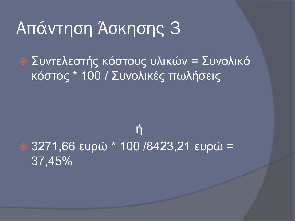 Απάντηση Άσκησης 3  Συντελεστής κόστους υλικών = Συνολικό κόστος * 100 / Συνολικές πωλήσεις ή  3271,66 ευρώ * 100 /8423,21 ευρώ = 37,45%