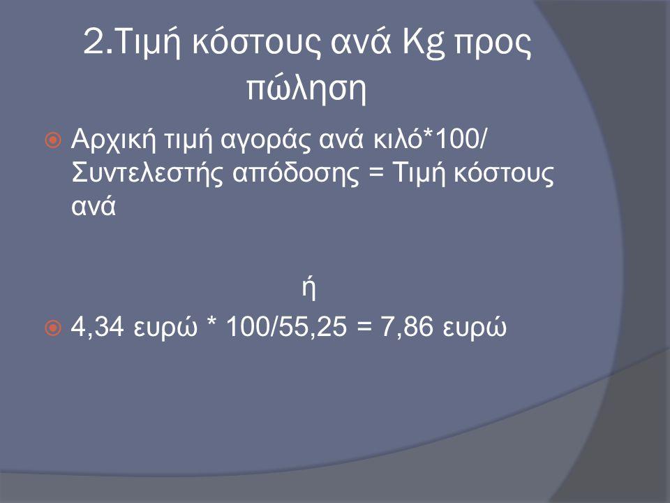2.Τιμή κόστους ανά Kg προς πώληση  Αρχική τιμή αγοράς ανά κιλό*100/ Συντελεστής απόδοσης = Τιμή κόστους ανά ή  4,34 ευρώ * 100/55,25 = 7,86 ευρώ