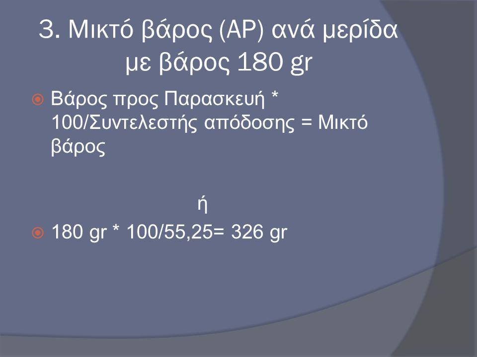 3. Μικτό βάρος (AP) ανά μερίδα με βάρος 180 gr  Βάρος προς Παρασκευή * 100/Συντελεστής απόδοσης = Μικτό βάρος ή  180 gr * 100/55,25= 326 gr