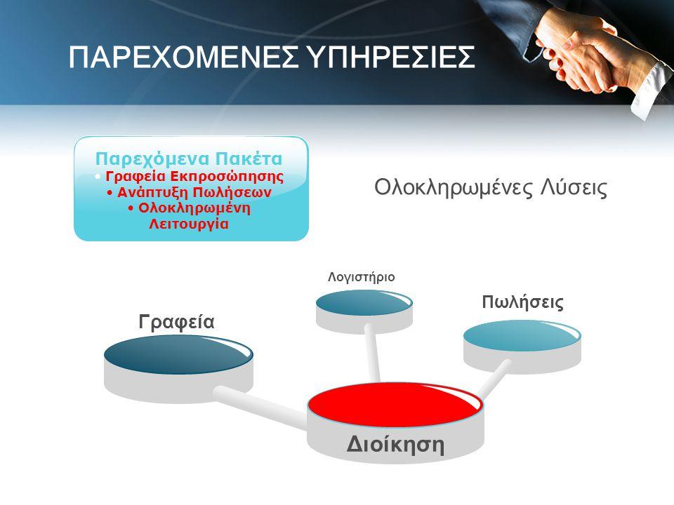 Γραφεία Λογιστήριο Διοίκηση Πωλήσεις Παρεχόμενα Πακέτα • Γραφεία Εκπροσώπησης • Ανάπτυξη Πωλήσεων • Ολοκληρωμένη Λειτουργία Ολοκληρωμένες Λύσεις ΠΑΡΕΧ