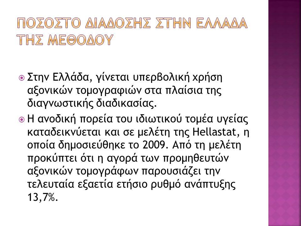 Στην Ελλάδα, γίνεται υπερβολική χρήση αξονικών τομογραφιών στα πλαίσια της διαγνωστικής διαδικασίας.  Η ανοδική πορεία του ιδιωτικού τομέα υγείας κ