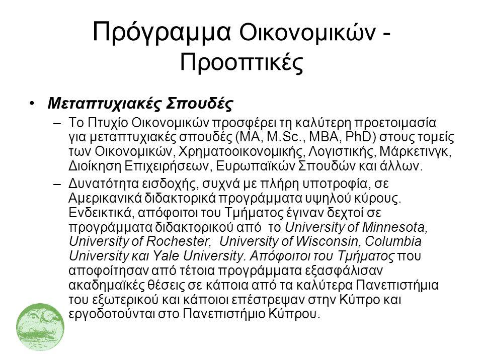 Πρόγραμμα Οικονομικών - Προοπτικές •Μεταπτυχιακές Σπουδές –Το Πτυχίο Οικονομικών προσφέρει τη καλύτερη προετοιμασία για μεταπτυχιακές σπουδές (MA, M.S