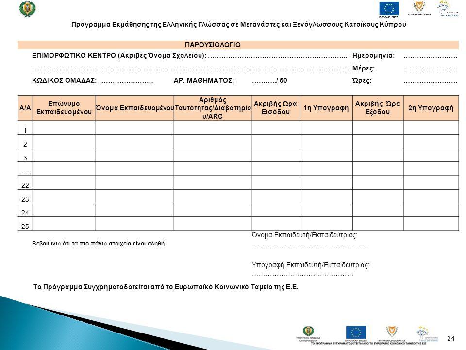 24 Πρόγραμμα Εκμάθησης της Ελληνικής Γλώσσας σε Μετανάστες και Ξενόγλωσσους Κατοίκους Κύπρου ΠΑΡΟΥΣΙΟΛΟΓΙΟ ΕΠΙΜΟΡΦΩΤΙΚΟ ΚΕΝΤΡΟ (Ακριβές Όνομα Σχολείου