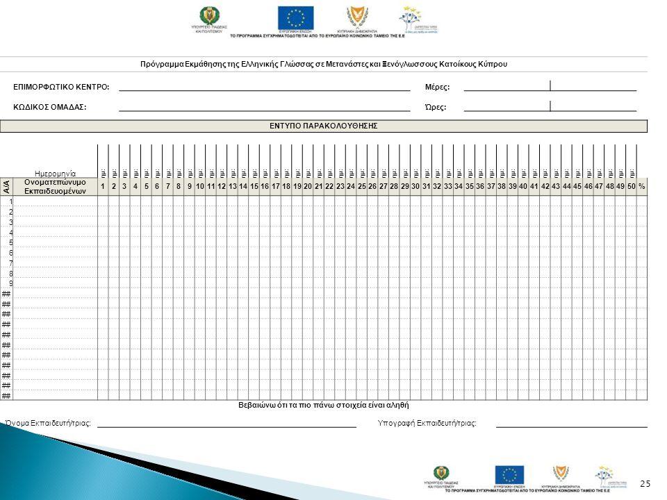 25 Πρόγραμμα Εκμάθησης της Ελληνικής Γλώσσας σε Μετανάστες και Ξενόγλωσσους Κατοίκους Κύπρου ΕΠΙΜΟΡΦΩΤΙΚΟ ΚΕΝΤΡΟ: Μέρες: ΚΩΔΙΚΟΣ ΟΜΑΔΑΣ: Ώρες: ΕΝΤΥΠΟ