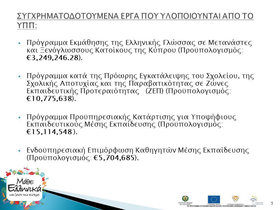  Πρόγραμμα Εκμάθησης της Ελληνικής Γλώσσας σε Μετανάστες και Ξενόγλωσσους Κατοίκους της Κύπρου (Προϋπολογισμός: €3,249,246.28).  Πρόγραμμα κατά της