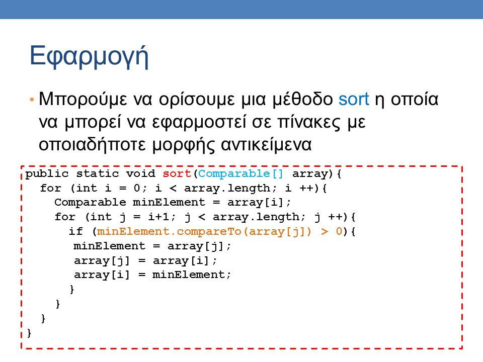 Εφαρμογή • Μπορούμε να ορίσουμε μια μέθοδο sort η οποία να μπορεί να εφαρμοστεί σε πίνακες με οποιαδήποτε μορφής αντικείμενα public static void sort(Comparable[] array){ for (int i = 0; i < array.length; i ++){ Comparable minElement = array[i]; for (int j = i+1; j < array.length; j ++){ if (minElement.compareTo(array[j]) > 0){ minElement = array[j]; array[j] = array[i]; array[i] = minElement; }