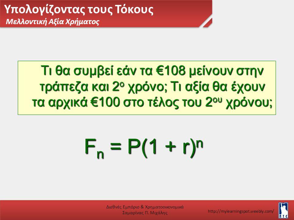 Υπολογίζοντας τους Τόκους Μελλοντική Αξία Χρήματος Διεθνές Εμπόριο & Χρηματοοικονομικά Σαμαρίνας Π. Μιχάλης http://mylearningspot.weebly.com/ F n = P(