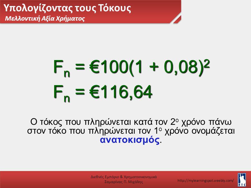 Υπολογίζοντας τους Τόκους Μελλοντική Αξία Χρήματος Διεθνές Εμπόριο & Χρηματοοικονομικά Σαμαρίνας Π. Μιχάλης http://mylearningspot.weebly.com/ Ο τόκος