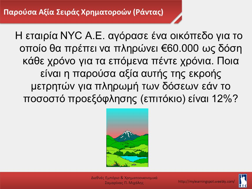 Παρούσα Αξία Σειράς Χρηματοροών (Ράντας) Διεθνές Εμπόριο & Χρηματοοικονομικά Σαμαρίνας Π. Μιχάλης http://mylearningspot.weebly.com/ Η εταιρία NYC A.E.