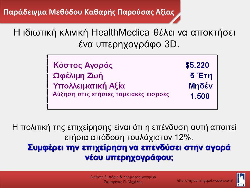Παράδειγμα Μεθόδου Καθαρής Παρούσας Αξίας Διεθνές Εμπόριο & Χρηματοοικονομικά Σαμαρίνας Π. Μιχάλης http://mylearningspot.weebly.com/ Η ιδιωτική κλινικ