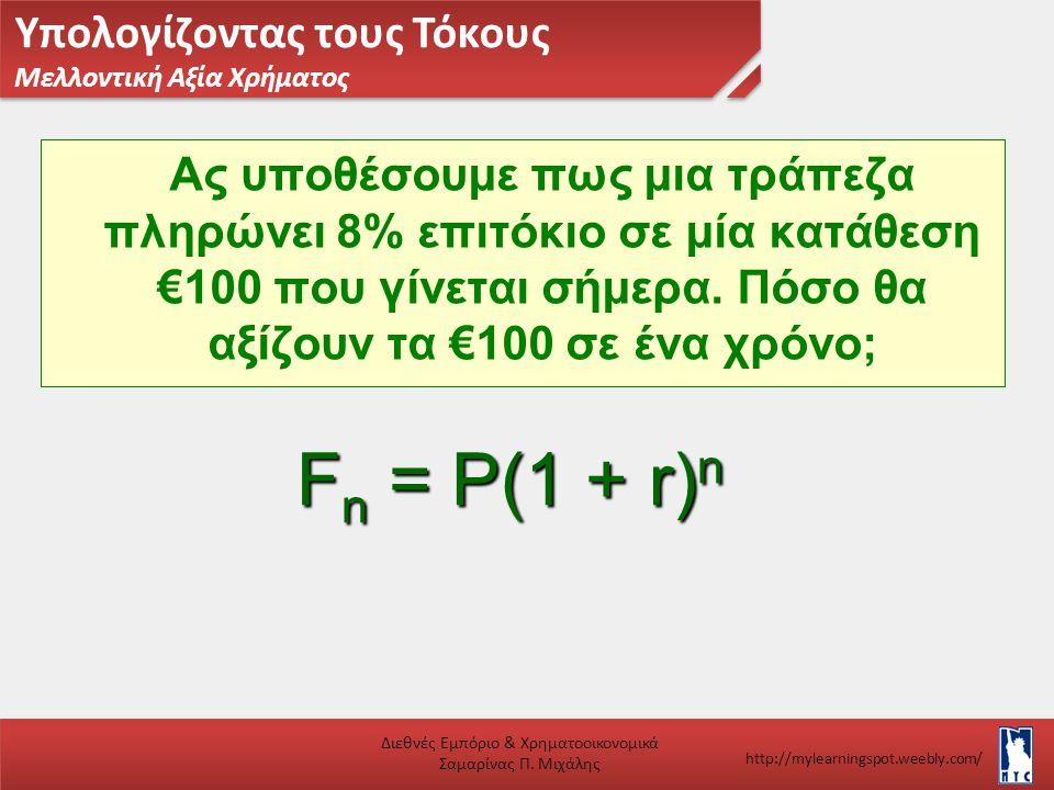 Υπολογίζοντας τους Τόκους Μελλοντική Αξία Χρήματος Διεθνές Εμπόριο & Χρηματοοικονομικά Σαμαρίνας Π. Μιχάλης http://mylearningspot.weebly.com/ Ας υποθέ