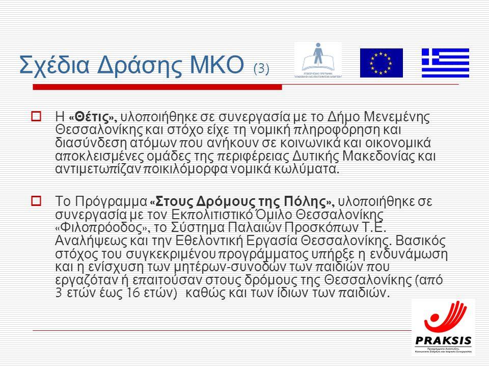 Σχέδια Δράσης ΜΚΟ (3)  Η « Θέτις », υλο π οιήθηκε σε συνεργασία με το Δήμο Μενεμένης Θεσσαλονίκης και στόχο είχε τη νομική π ληροφόρηση και διασύνδεση ατόμων π ου ανήκουν σε κοινωνικά και οικονομικά α π οκλεισμένες ομάδες της π εριφέρειας Δυτικής Μακεδονίας και αντιμετω π ίζαν π οικιλόμορφα νομικά κωλύματα.