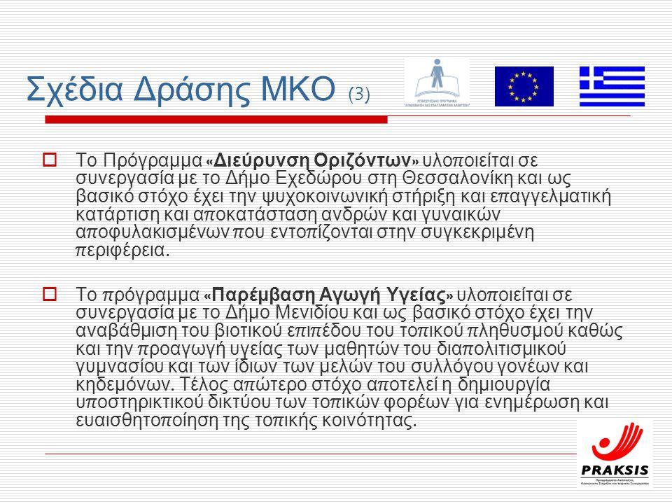 Σχέδια Δράσης ΜΚΟ (3)  Το Πρόγραμμα « Διεύρυνση Οριζόντων » υλο π οιείται σε συνεργασία με το Δήμο Εχεδώρου στη Θεσσαλονίκη και ως βασικό στόχο έχει