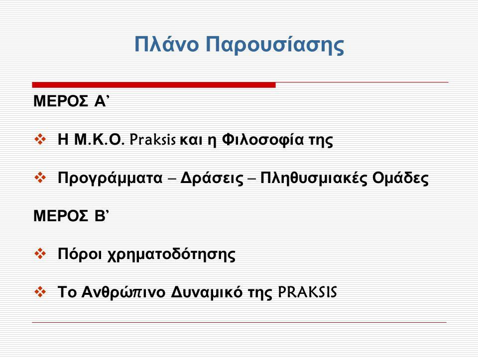 Πλάνο Παρουσίασης ΜΕΡΟΣ Α '  Η Μ. Κ. Ο. Praksis και η Φιλοσοφία της  Προγράμματα – Δράσεις – Πληθυσμιακές Ομάδες ΜΕΡΟΣ Β '  Πόροι χρηματοδότησης 