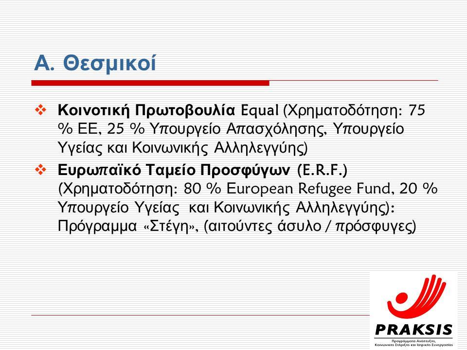 Α. Θεσμικοί  Κοινοτική Πρωτοβουλία Equal ( Χρηματοδότηση : 75 % ΕΕ, 25 % Υ π ουργείο Α π ασχόλησης, Υ π ουργείο Υγείας και Κοινωνικής Αλληλεγγύης ) 