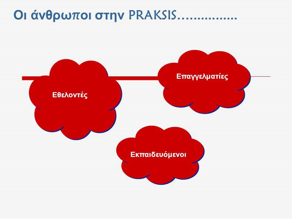 Οι άνθρω π οι στην PRAKSIS…............. Επαγγελματίες Εθελοντές Εκπαιδευόμενοι