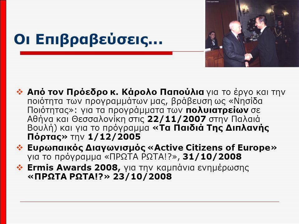 Οι Επιβραβεύσεις...  Από τον Πρόεδρο κ. Κάρολο Παπούλια για το έργο και την ποιότητα των προγραμμάτων μας, βράβευση ως «Νησίδα Ποιότητας»: για τα προ