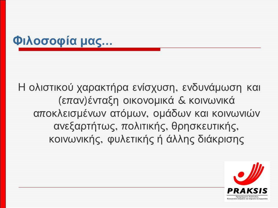 ΣΥΓΧΡΗΜΑΤΟΔΟΤΟΥΜΕΝΑ ΠΡΟΓΡΑΜΜΑΤΑ  Συμμετοχή σε εταιρικά σχήματα συγχρηματοδοτούμενων π ρογραμμάτων  Πρόγραμμα « Στέγη »  Ανα π τυξιακές Συμ π ράξεις EQUAL  Σχέδια Δράσης ΜΚΟ  Συνοδευτικές Υ π οστηρικτικές Υ π ηρεσίες ( ΣΥΥ ) ΠΡΟΓΡΑΜΜΑΤΑ ΣΥΝΕΡΓΑΣΙΩΝ - ΔΙΚΤΥΩΝ  Προστατεύω τον εαυτό μου και τους άλλους ( Γενική Γραμματεία Ε π ιμόρφωσης Ενηλίκων )  Ε π όμενη Μέρα ( Ελληνικό Δίκτυο για την Εταιρική Κοινωνική Ευθύνη )  Πρόγραμμα « ΠΡΩΤΑ ΡΩΤΑ » ( Γενική Γραμματεία Νέας Γενιάς )