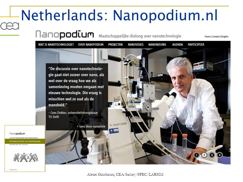 Netherlands: Nanopodium.nl Alexei Grinbaum, CEA-Saclay/SPEC/LARSIM