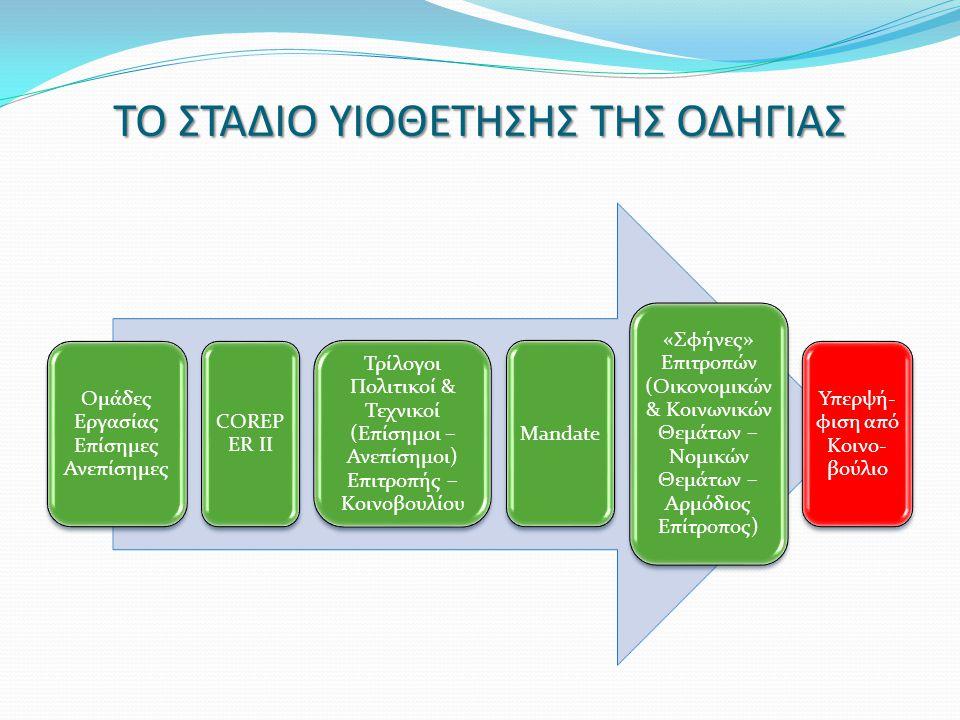 ΝΟΜΟΘΕΤΙΚΕΣ ΠΡΩΤΟΒΟΥΛΙΕΣ ΥΙΟΘΕΤΗΣΗ ΤΗΣ ΟΔΗΓΙΑΣ Ενσωμάτωση στο Εθνικό Δίκαιο του λογιστικού τμήματος της οδηγίας (είναι ήδη έτοιμο - IFRS) Ενσωμάτωση σε 2 η φάση του τμήματος των μη χρημ/κων πληροφοριών & πληροφοριών ποικιλομορφίας και εταιρικής διακυβέρνησης (πρώτες πληροφορίες το 2017) Έκταση της εποπτείας του συνόλου των μορφών των επιχειρήσεων & ενιαίοι εποπτικοί κανόνες ανεξαρτήτως νομικής μορφής Απλοποίηση / ΓΕΜΗ / Υπ.