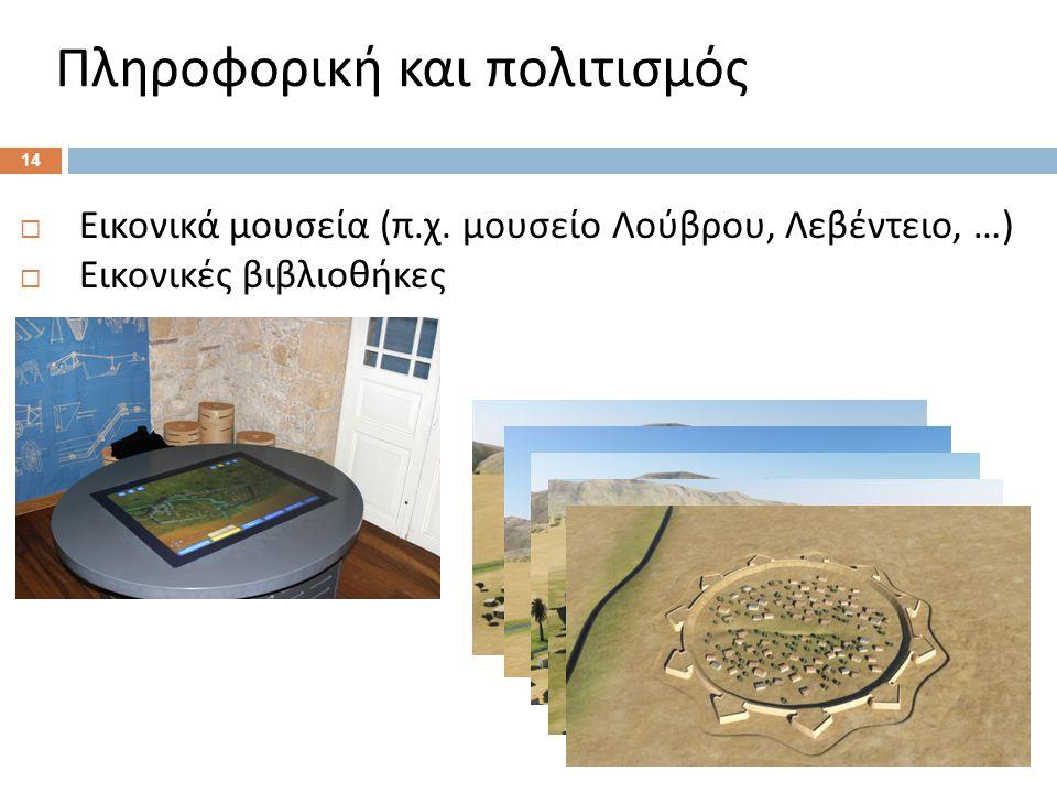 Πληροφορική και πολιτισμός 14  Εικονικά μουσεία ( π.
