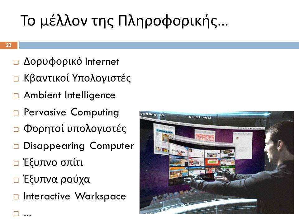 Το μέλλον της Πληροφορικής …  Δορυφορικό Internet  Κβαντικοί Υπολογιστές  Ambient Intelligence  Pervasive Computing  Φορητοί υπολογιστές  Disappearing Computer  Έξυπνο σπίτι  Έξυπνα ρούχα  Interactive Workspace  … 23