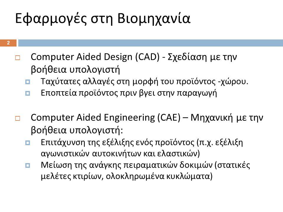 Εφαρμογές στη Βιομηχανία  Computer Aided Design (CAD) - Σχεδίαση με την βοήθεια υπολογιστή  Ταχύτατες αλλαγές στη μορφή του προϊόντος - χώρου.