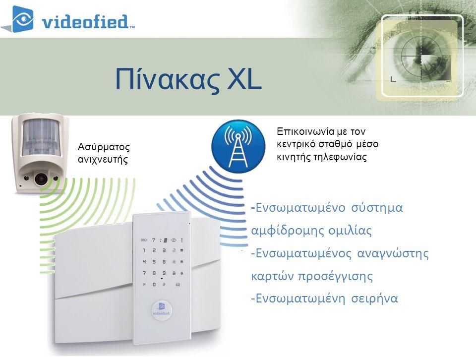 Πίνακας XL -Ενσωματωμένο σύστημα αμφίδρομης ομιλίας -Ενσωματωμένος αναγνώστης καρτών προσέγγισης -Ενσωματωμένη σειρήνα Cell Communications To central Station Ασύρματος ανιχνευτής Επικοινωνία με τον κεντρικό σταθμό μέσο κινητής τηλεφωνίας