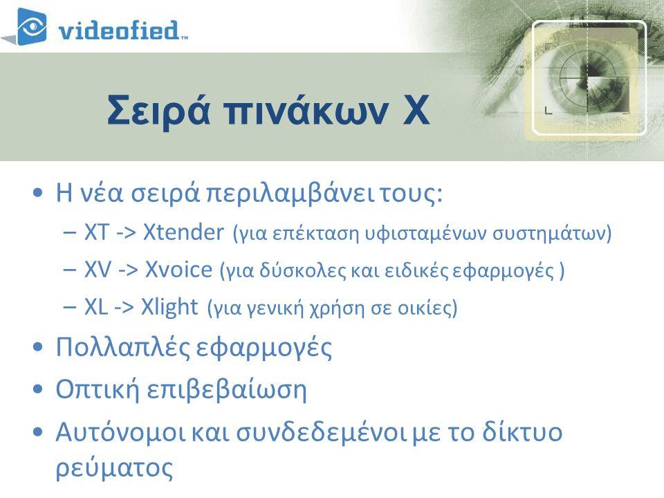 Σειρά πινάκων Χ •Η νέα σειρά περιλαμβάνει τους: –XT -> Xtender (για επέκταση υφισταμένων συστημάτων) –XV -> Xvoice (για δύσκολες και ειδικές εφαρμογές ) –XL -> Xlight (για γενική χρήση σε οικίες) •Πολλαπλές εφαρμογές •Οπτική επιβεβαίωση •Αυτόνομοι και συνδεδεμένοι με το δίκτυο ρεύματος
