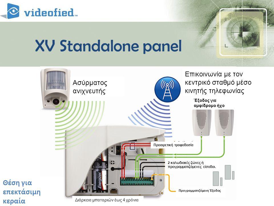 XV Standalone panel Deported antenna connectors Θέση για επεκτάσιμη κεραία Ασύρματος ανιχνευτής Επικοινωνία με τον κεντρικό σταθμό μέσο κινητής τηλεφωνίας Διάρκεια μπαταριών έως 4 χρόνια Προγραμματιζόμενη Έξοδος 2 καλωδιακές ζώνες ή προγραμματιζόμενες είσοδοι.