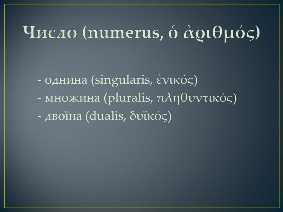 - однина (singularis, ἑνικός) - множина (pluralis, πληθυντικός) - двоїна (dualis, δυϊκός)