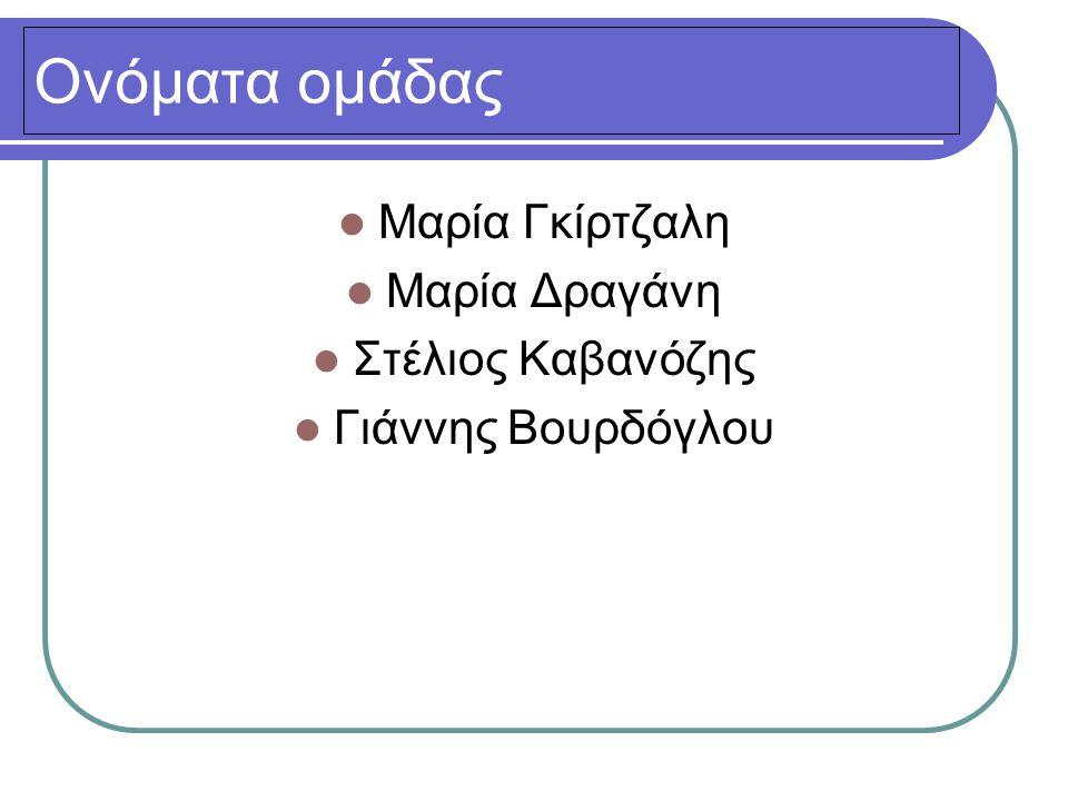 Ονόματα ομάδας  Μαρία Γκίρτζαλη  Μαρία Δραγάνη  Στέλιος Καβανόζης  Γιάννης Βουρδόγλου
