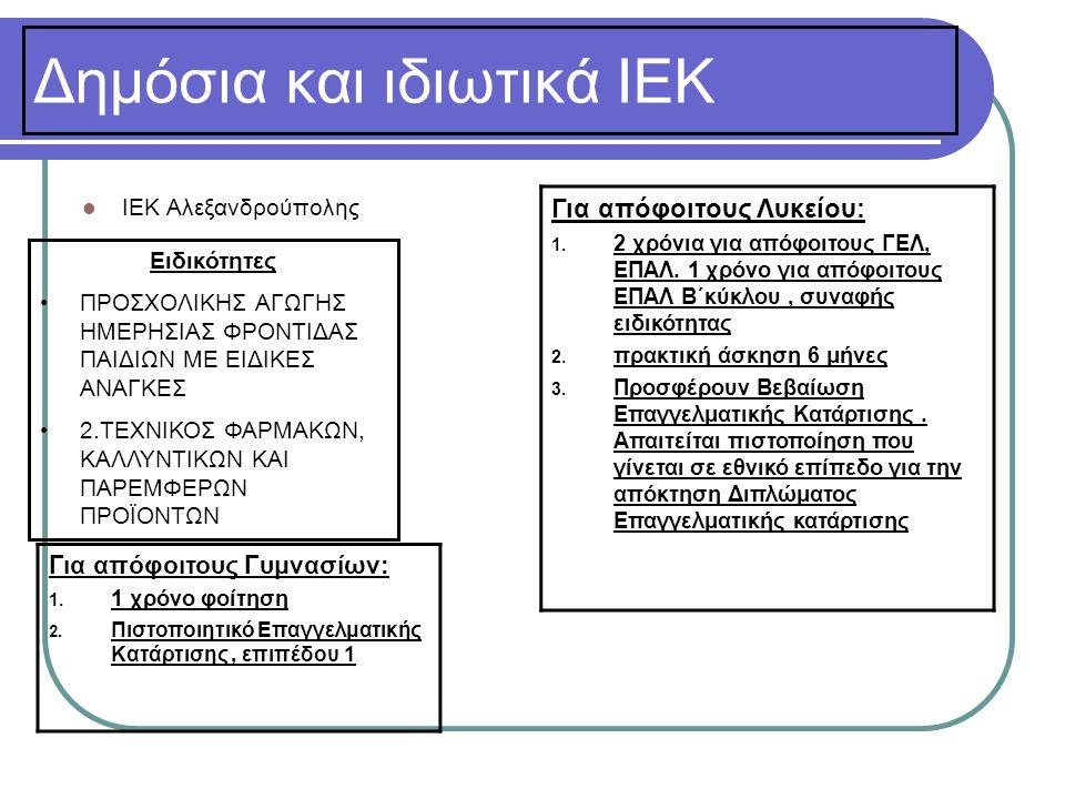Δημόσια και ιδιωτικά ΙΕΚ  ΙΕΚ Αλεξανδρούπολης Για απόφοιτους Λυκείου: 1. 2 χρόνια για απόφοιτους ΓΕΛ, ΕΠΑΛ. 1 χρόνο για απόφοιτους ΕΠΑΛ Β΄κύκλου, συν