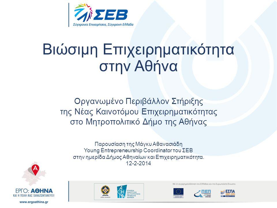Άξονες Στρατηγικής Επένδυση στην Επιχειρηματικότητα της Γνώσης Δημιουργία Μόνιμων Μηχανισμών Στήριξης της Νέας Καινοτόμου Επιχειρηματικότητας Δημιουργούμε Καινοτόμους Επιχειρηματίες στο Δήμο Αθηναίων.