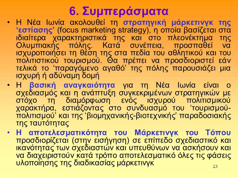 23 6. Συμπεράσματα •Η Νέα Ιωνία ακολουθεί τη στρατηγική μάρκετινγκ της 'εστίασης' (focus marketing strategy), η οποία βασίζεται στα ιδιαίτερα χαρακτηρ