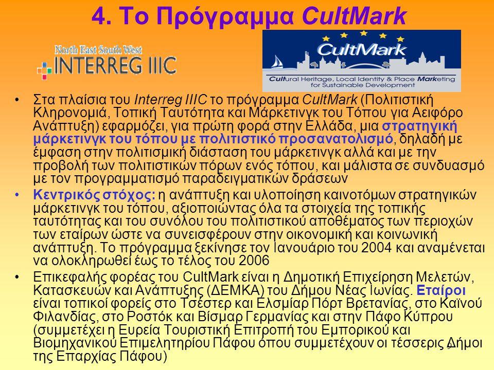 9 4. Το Πρόγραμμα CultMark •Στα πλαίσια του Interreg IIIC το πρόγραμμα CultMark (Πολιτιστική Κληρονομιά, Τοπική Ταυτότητα και Μάρκετινγκ του Τόπου για
