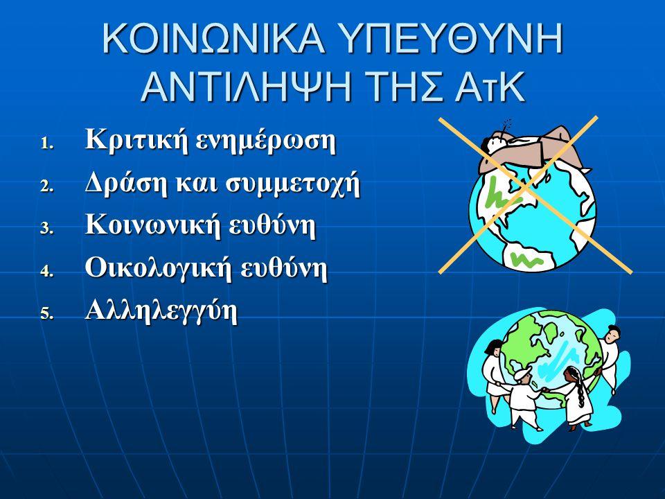 ΚΟΙΝΩΝΙΚΑ ΥΠΕΥΘΥΝΗ ΑΝΤΙΛΗΨΗ ΤΗΣ ΑτΚ 1. Κριτική ενημέρωση 2. Δράση και συμμετοχή 3. Κοινωνική ευθύνη 4. Οικολογική ευθύνη 5. Αλληλεγγύη