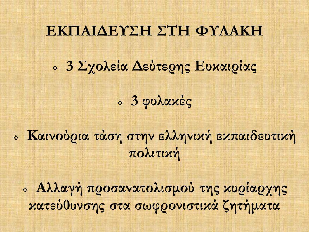 ΕΚΠΑΙΔΕΥΣΗ ΣΤΗ ΦΥΛΑΚΗ  3 Σχολεία Δεύτερης Ευκαιρίας  3 φυλακές  Καινούρια τάση στην ελληνική εκπαιδευτική πολιτική  Αλλαγή προσανατολισμού της κυρ