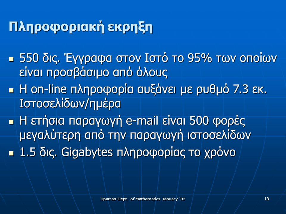 Upatras-Dept. of Mathematics January 02 13 Πληροφοριακή εκρηξη  550 δις.