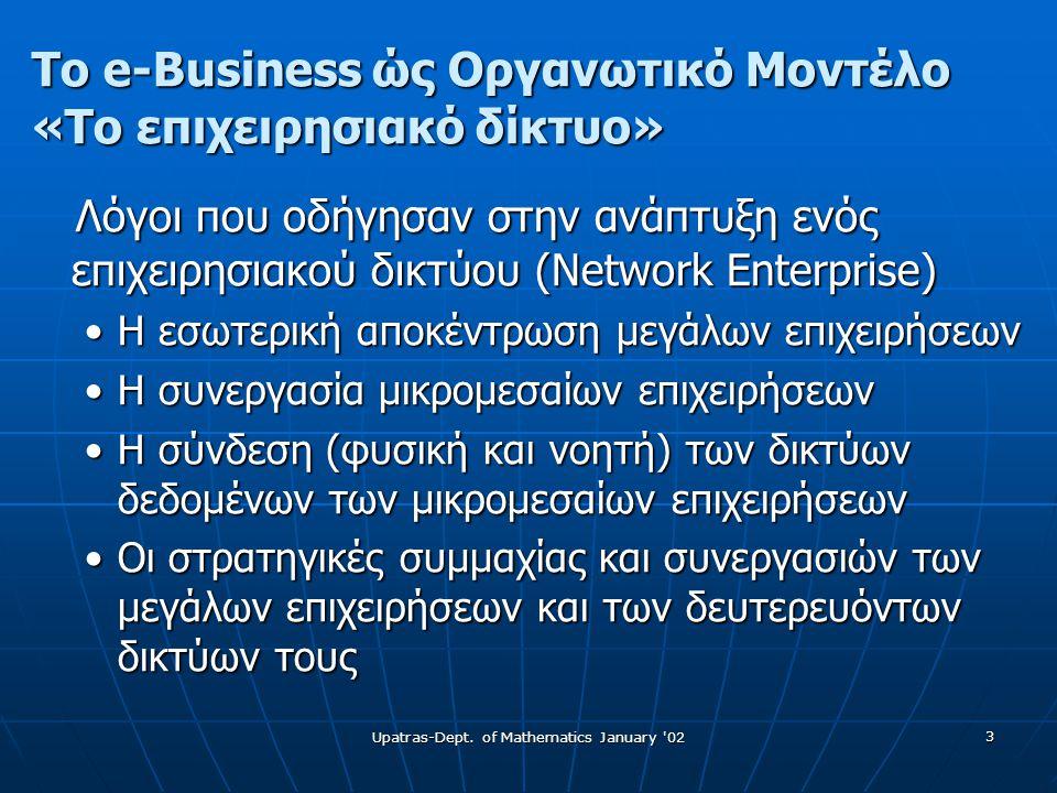 3 Το e-Business ώς Οργανωτικό Μοντέλο «Το επιχειρησιακό δίκτυο» Λόγοι που οδήγησαν στην ανάπτυξη ενός επιχειρησιακού δικτύου (Network Enterprise) Λόγοι που οδήγησαν στην ανάπτυξη ενός επιχειρησιακού δικτύου (Network Enterprise) •Η εσωτερική αποκέντρωση μεγάλων επιχειρήσεων •Η συνεργασία μικρομεσαίων επιχειρήσεων •Η σύνδεση (φυσική και νοητή) των δικτύων δεδομένων των μικρομεσαίων επιχειρήσεων •Οι στρατηγικές συμμαχίας και συνεργασιών των μεγάλων επιχειρήσεων και των δευτερευόντων δικτύων τους