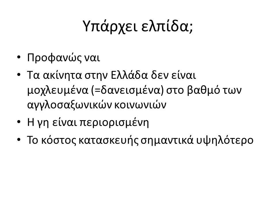 Υπάρχει ελπίδα; • Προφανώς ναι • Τα ακίνητα στην Ελλάδα δεν είναι μοχλευμένα (=δανεισμένα) στο βαθμό των αγγλοσαξωνικών κοινωνιών • Η γη είναι περιορι