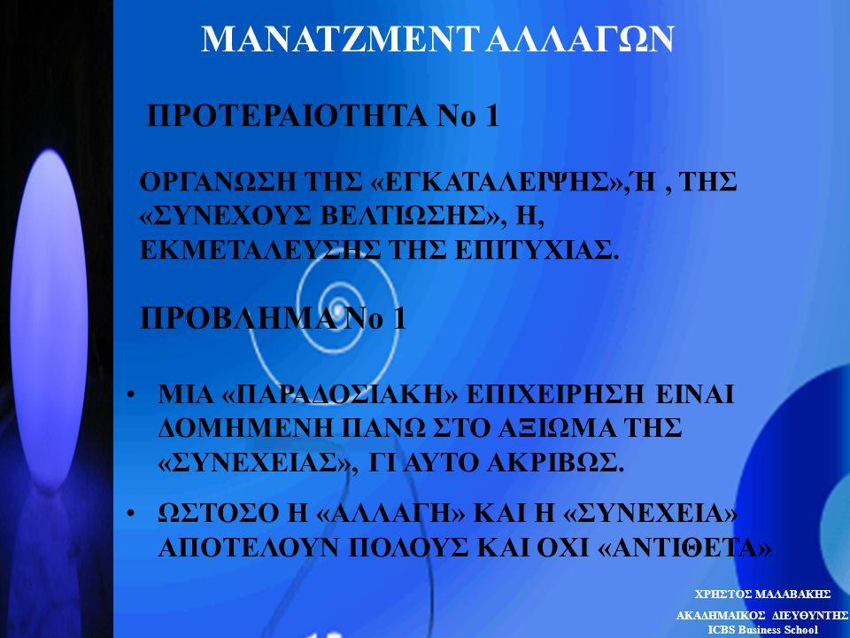 ΜΑΝΑΤΖΜΕΝΤ ΑΛΛΑΓΩΝ ΠΡΟΤΕΡΑΙΟΤΗΤΑ Νο 1 ΟΡΓΑΝΩΣΗ ΤΗΣ «ΕΓΚΑΤΑΛΕΙΨΗΣ»,Ή, ΤΗΣ «ΣΥΝΕΧΟΥΣ ΒΕΛΤΙΩΣΗΣ», Η, ΕΚΜΕΤΑΛΕΥΣΗΣ ΤΗΣ ΕΠΙΤΥΧΙΑΣ. ΠΡΟΒΛΗΜΑ Νο 1 •ΜΙΑ «ΠΑΡΑ