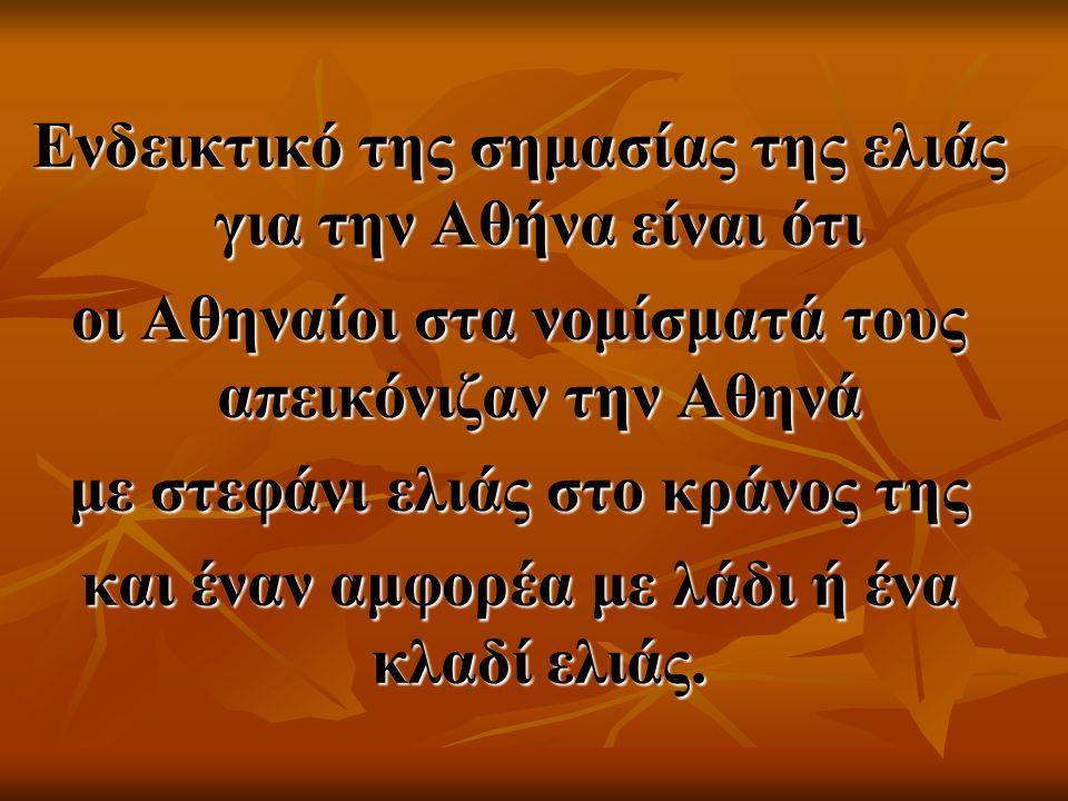 Ενδεικτικό της σημασίας της ελιάς για την Αθήνα είναι ότι οι Αθηναίοι στα νομίσματά τους απεικόνιζαν την Αθηνά με στεφάνι ελιάς στο κράνος της και ένα