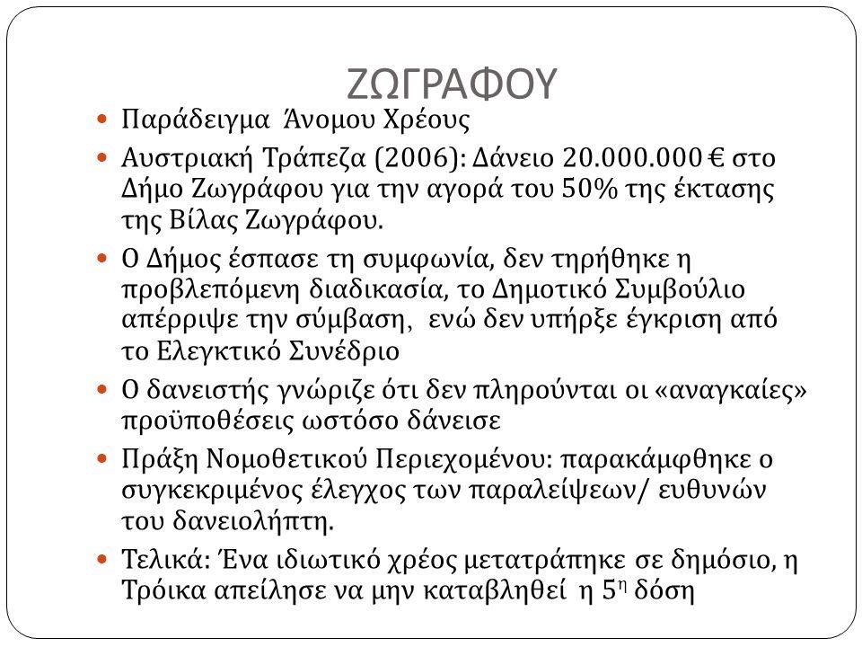 ΖΩΓΡΑΦΟΥ  Παράδειγμα Άνομου Χρέους  Αυστριακή Τράπεζα (2006): Δάνειο 20.000.000 € στο Δήμο Ζωγράφου για την αγορά του 50% της έκτασης της Βίλας Ζωγράφου.