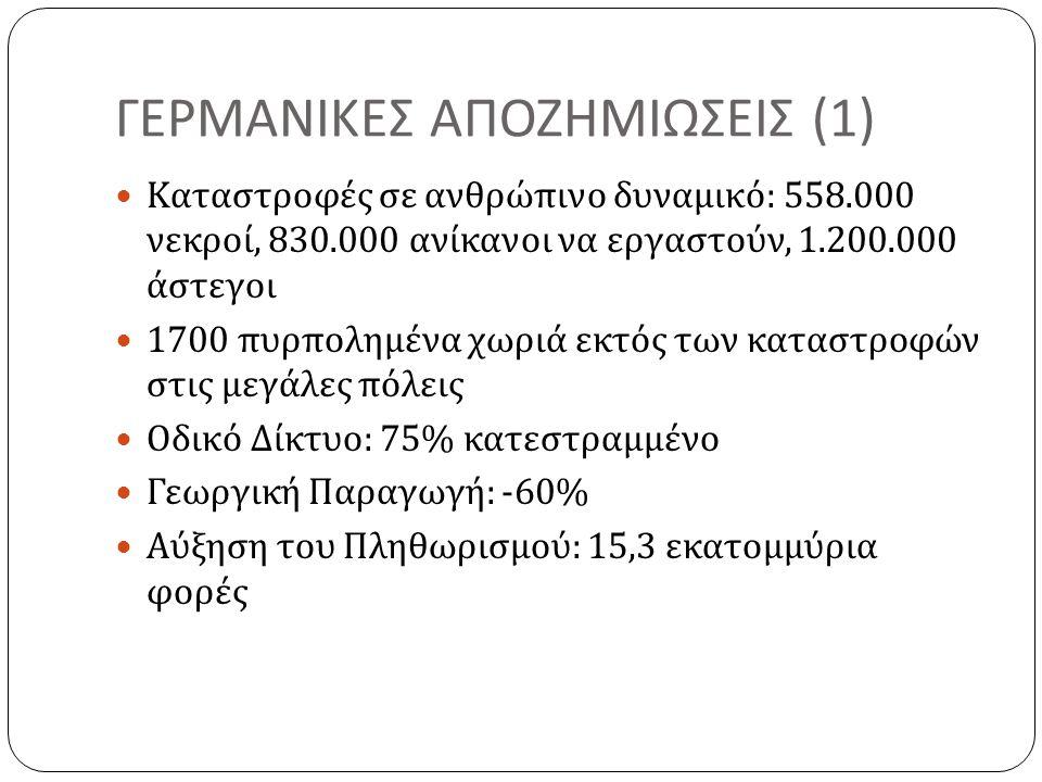 ΓΕΡΜΑΝΙΚΕΣ ΑΠΟΖΗΜΙΩΣΕΙΣ (1)  Καταστροφές σε ανθρώπινο δυναμικό : 558.000 νεκροί, 830.000 ανίκανοι να εργαστούν, 1.200.000 άστεγοι  1700 πυρπολημένα χωριά εκτός των καταστροφών στις μεγάλες πόλεις  Οδικό Δίκτυο : 75% κατεστραμμένο  Γεωργική Παραγωγή : -60%  Αύξηση του Πληθωρισμού : 15,3 εκατομμύρια φορές